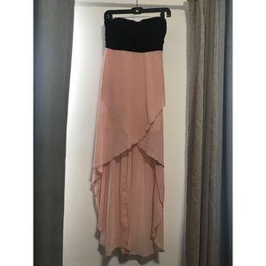 Sweet hi-lo color block dress